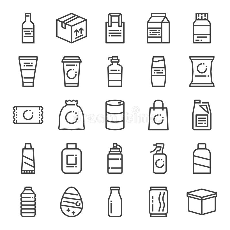 Product packaging pixel perfect icons stock illustration