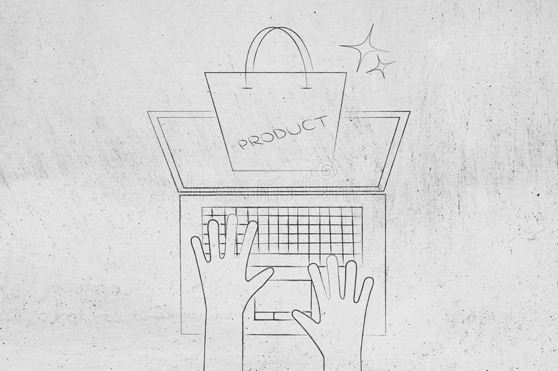 Product packaging shopping bag popping out of laptop screen on a. Spring from above, concept of online shopping stock photography