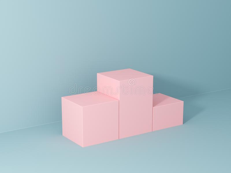 Product presentation and fashion magazine. Pure pink podium with blue wall and soft shadow. Minimal geometric shape. 3d rendering illustration stock photos
