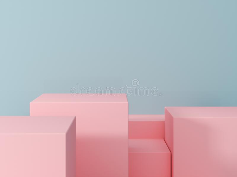 Product presentation and fashion magazine. Pure pink podium with blue wall and soft shadow. Minimal geometric shape. 3d rendering illustration stock photography