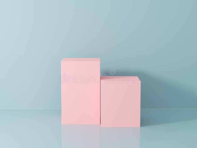 Product presentation and fashion magazine. Pure pink podium with blue wall and soft shadow. Minimal geometric shape. 3d rendering illustration royalty free stock photos