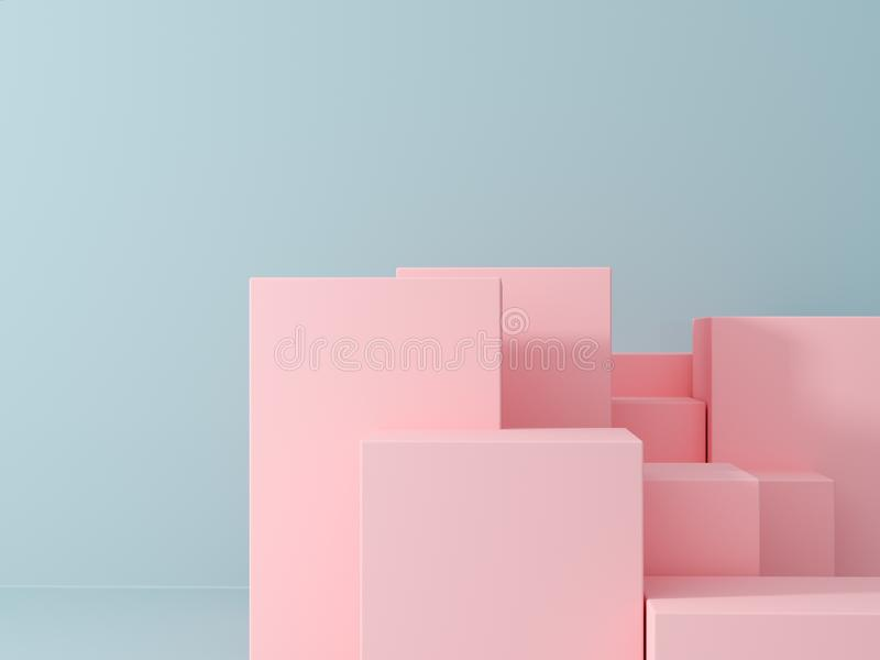Product presentation and fashion magazine. Pure pink podium with blue wall and soft shadow. Minimal geometric shape. 3d rendering illustration royalty free stock images