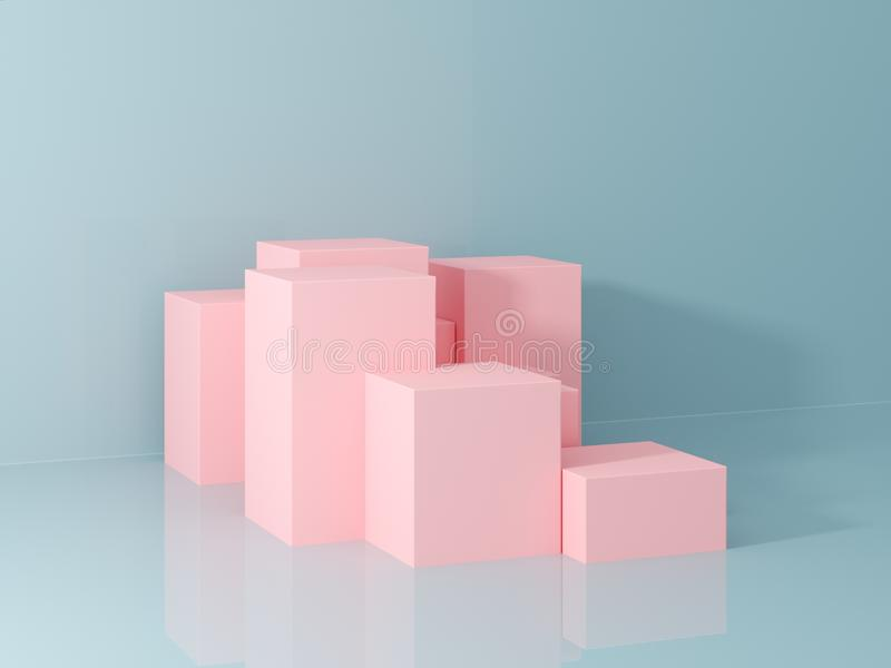 Product presentation and fashion magazine. Pure pink podium with blue wall and soft shadow. Minimal geometric shape. 3d rendering illustration stock image