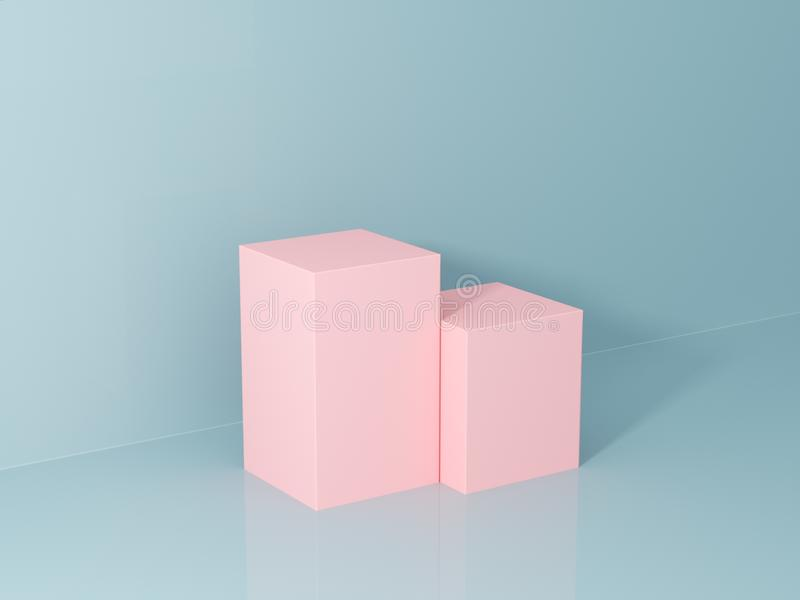 Product presentation and fashion magazine. Pure pink podium with blue wall and soft shadow. Minimal geometric shape. 3d rendering illustration stock images