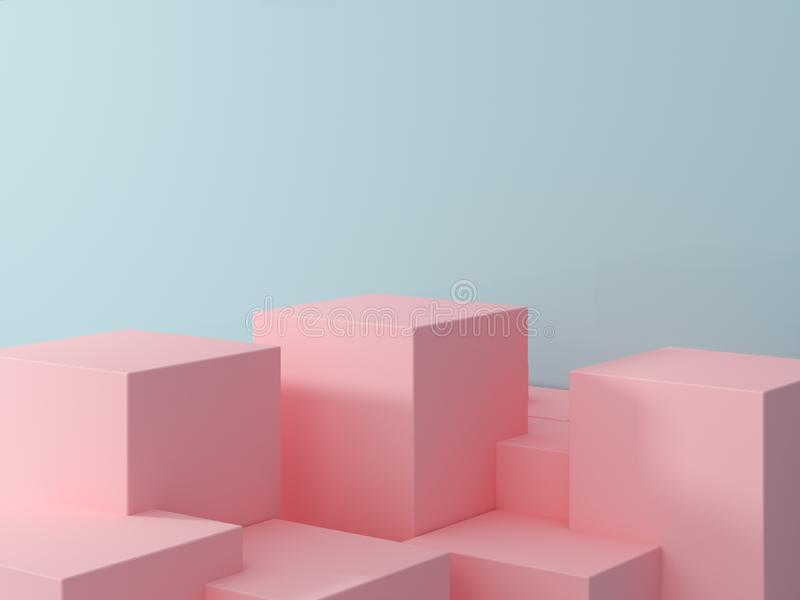Product presentation and fashion magazine. Pure pink podium with blue wall and soft shadow. Minimal geometric shape. 3d rendering illustration royalty free stock photography