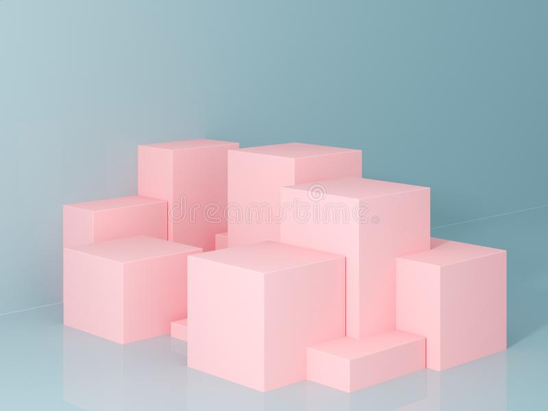 Product presentation and fashion magazine. Pure pink podium with blue wall and soft shadow. Minimal geometric shape. 3d rendering illustration royalty free stock image