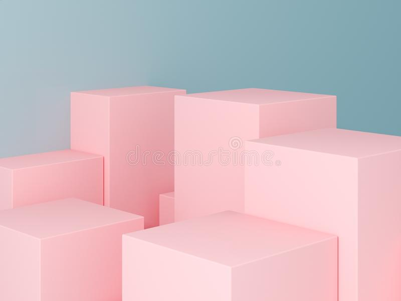 Product presentation and fashion magazine. Pure pink podium with blue wall and soft shadow. Minimal geometric shape. 3d rendering illustration royalty free stock photo