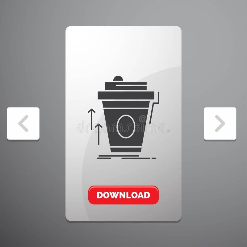 product, promo die, koffie, kop, merk Glyph-Pictogram in Carousal het Ontwerp van de Pagineringschuif & Rode Downloadknoop op de  vector illustratie