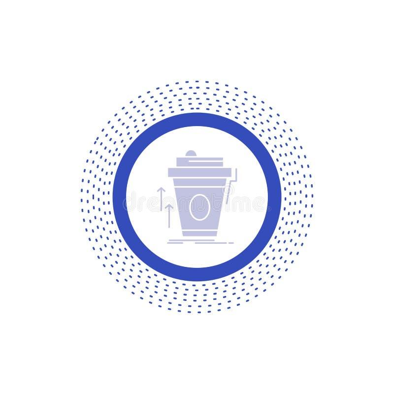 product, promo die, koffie, kop, merk Glyph-Pictogram op de markt brengen Vector ge?soleerde illustratie vector illustratie