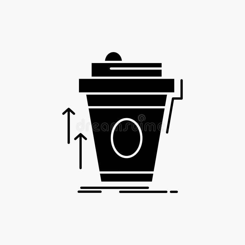 product, promo die, koffie, kop, merk Glyph-Pictogram op de markt brengen Vector ge?soleerde illustratie stock illustratie