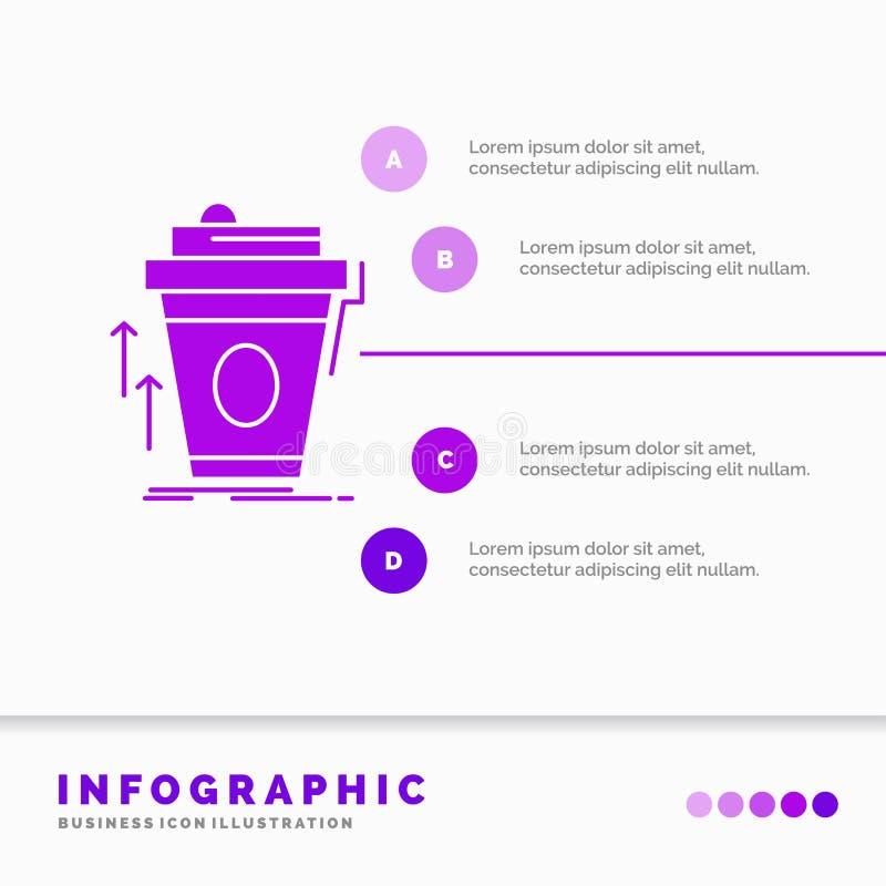 product, promo die, koffie, kop, merk Infographics-Malplaatje voor Website en Presentatie op de markt brengen Infographic GLyph P royalty-vrije illustratie