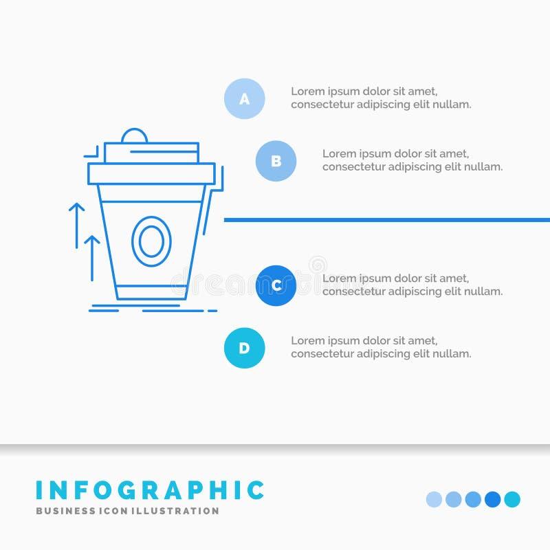 product, promo die, koffie, kop, merk Infographics-Malplaatje voor Website en Presentatie op de markt brengen Infographic stijl v vector illustratie