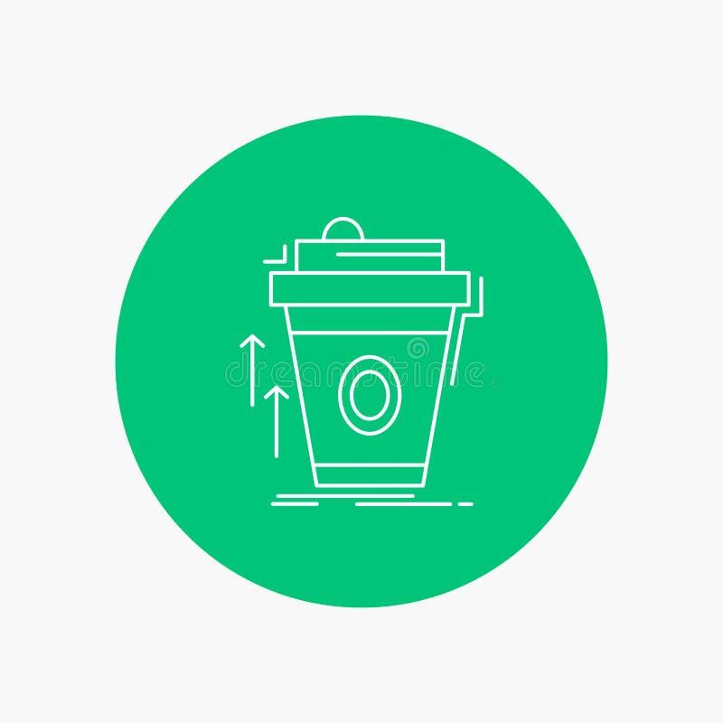 product, promo die, koffie, kop, merk Wit Lijnpictogram op Cirkelachtergrond op de markt brengen Vectorpictogramillustratie royalty-vrije illustratie