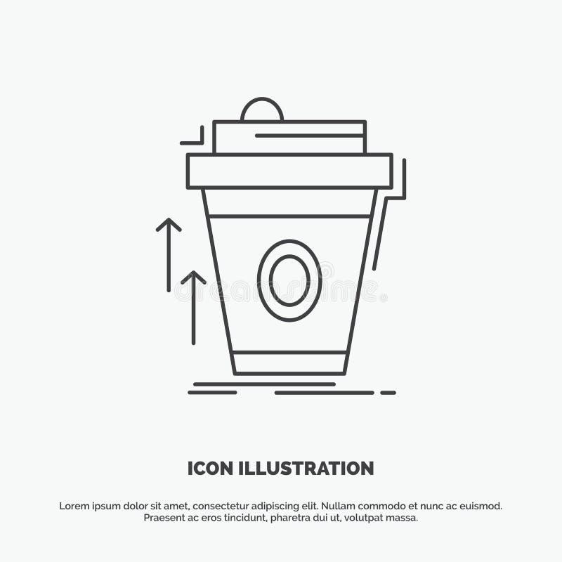 product, promo, koffie, kop, merk marketing Pictogram Lijn vector grijs symbool voor UI en UX, website of mobiele toepassing stock illustratie