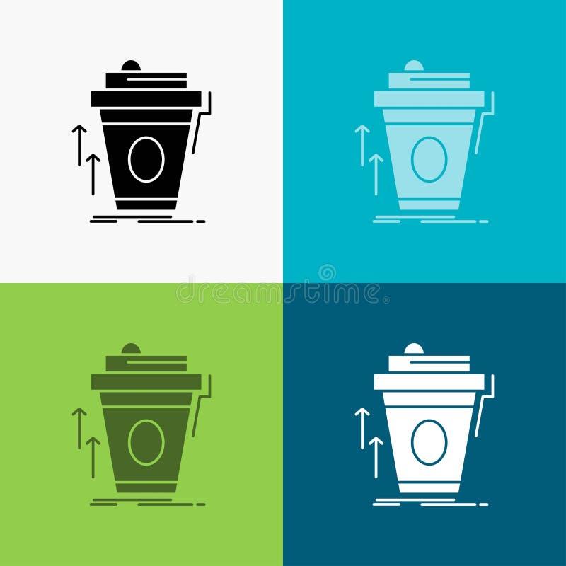 product, promo, koffie, kop, merk marketing Pictogram over Diverse Achtergrond glyph stijlontwerp, voor Web dat en app wordt ontw royalty-vrije illustratie