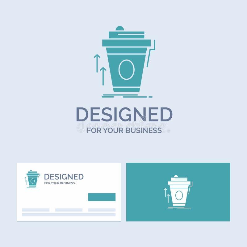 product, promo, koffie, kop, merk marketing Zaken Logo Glyph Icon Symbol voor uw zaken Turkooise Visitekaartjes met royalty-vrije illustratie