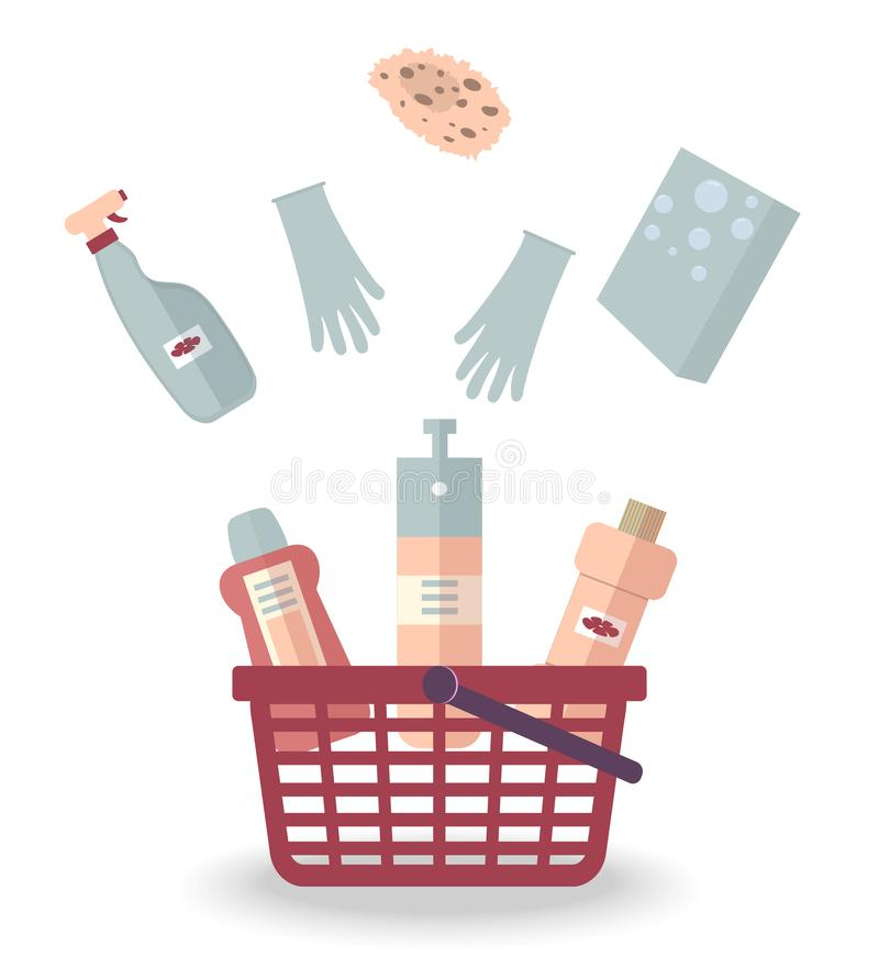 Product purchase concept: Detergents,washing powder,gloves and a sponge for cleaning house, office, restaurant, hotel are falling royalty free illustration