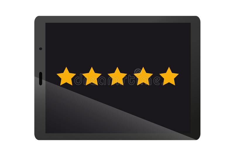 Product Rating Stars On Black Modern Tablet Device - Vector Illustration vector illustration