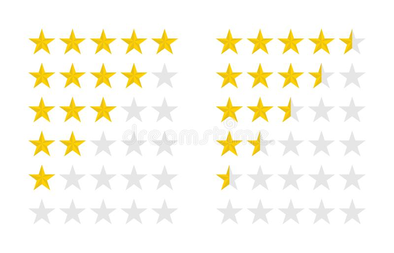 Product ratings set with gold stars, vector illustration royalty free illustration