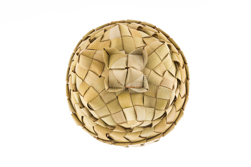 Product of rattan, basket with lid, top view. Product of bamboo strips, handmade, craft, basket, rattan royalty free stock photography
