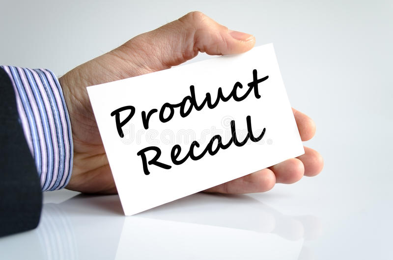 Product recall text concept stock image