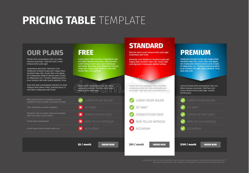 Product / service pricing comparison table stock illustration