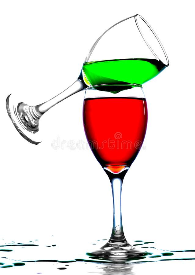 Product  Shoot of a Wine Glass with multi colored liquid royalty free stock photos