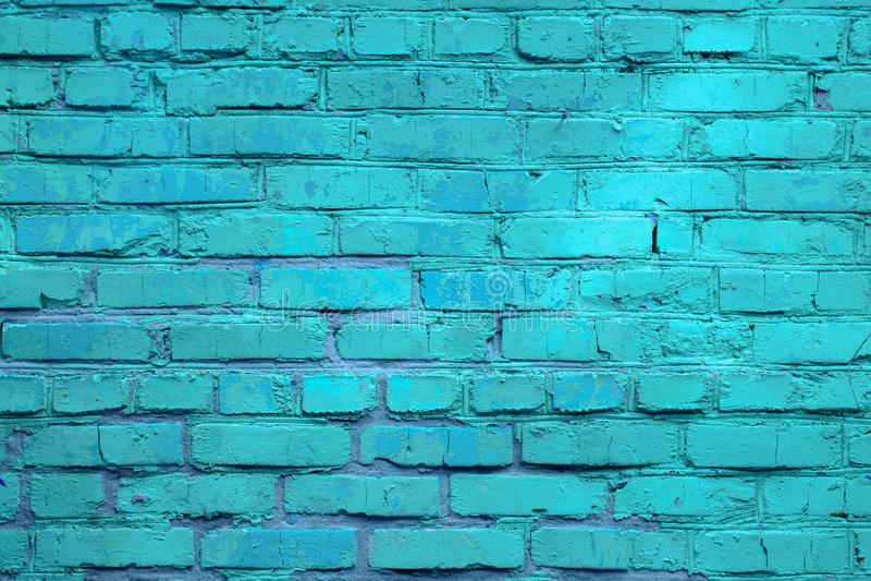Product showcase spotlight background. Brick wall, background, blue neon stock photography