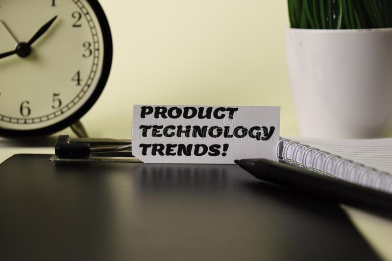 Product Technology Trends! on the paper isolated on it desk. Business and inspiration concept stock images