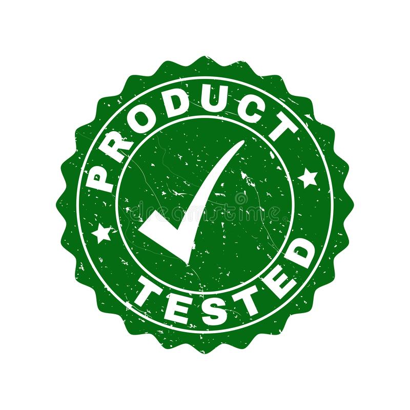 Product Tested Scratched Stamp with Tick stock illustration