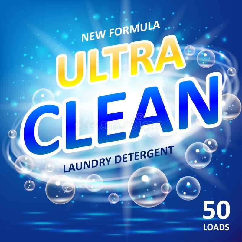 Product van het zeep het ultra schone ontwerp Toilet of badkamerstonreinigingsmiddel Van de achtergrond waszeep ontwerp Wasmiddel vector illustratie
