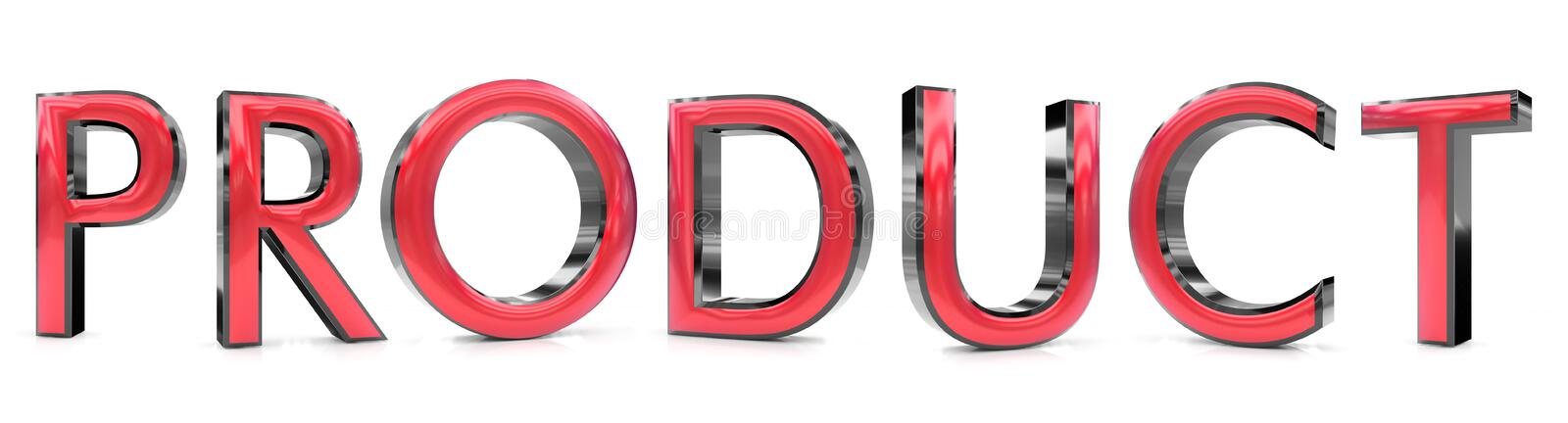 Product word. The product word 3d rendered red and gray metallic color , isolated on white background vector illustration