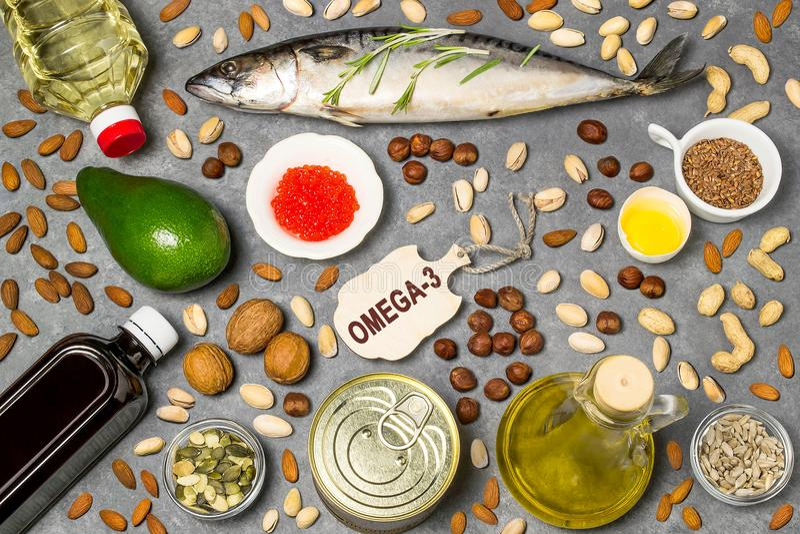 Producten - bron van vetzuren omega-3 stock afbeelding