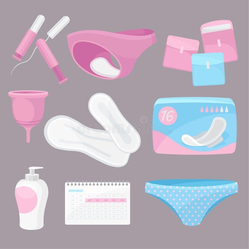 Producten van de inzamelings de dagelijkse hygiëne Vector vlakke illustratie stock illustratie