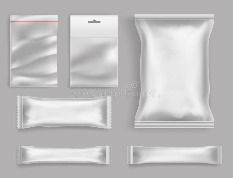 Productenpolyethyleen die realistische vector verpakken vector illustratie