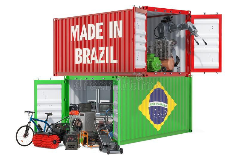Productie en het verschepen van elektronisch en toestellen van Brazilië, het 3D teruggeven stock illustratie