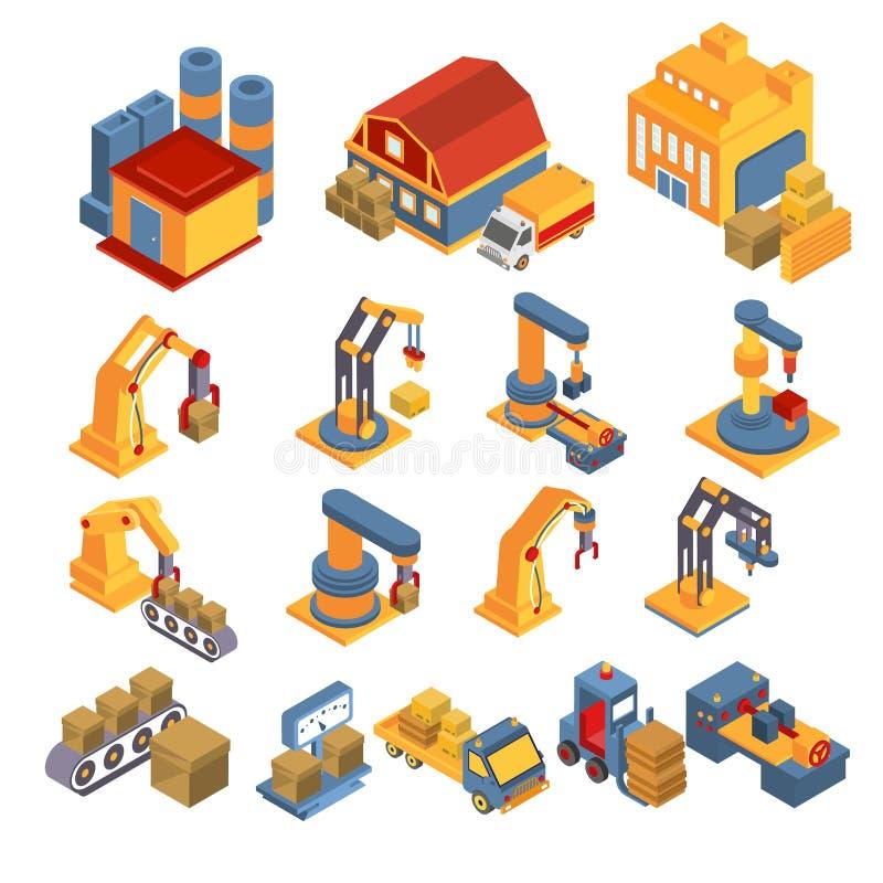 Productie en Leverings Isometrische Reeks stock illustratie