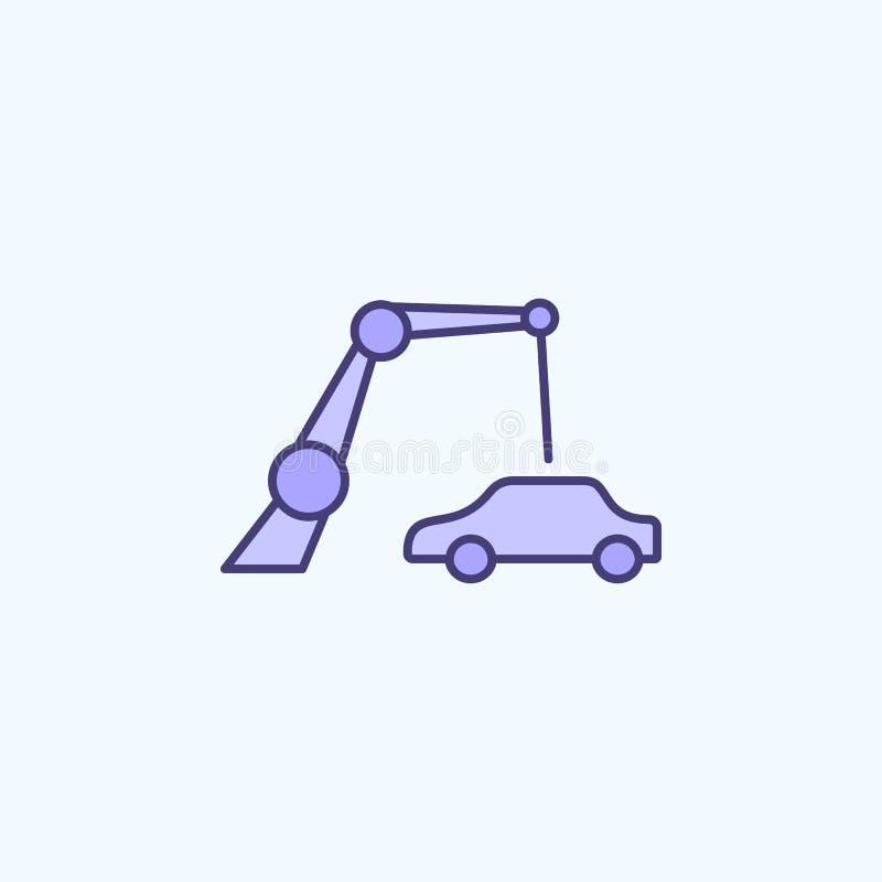 productie 2 van de roboticaauto rassenbarrièrepictogram Eenvoudige kleurenelementillustratie het ontwerp van de de productieoverz royalty-vrije illustratie