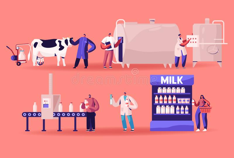 Productie van melk, landbouwindustrie, fase van het transportproces, zuivelfabriek voor de voedselindustrie vector illustratie