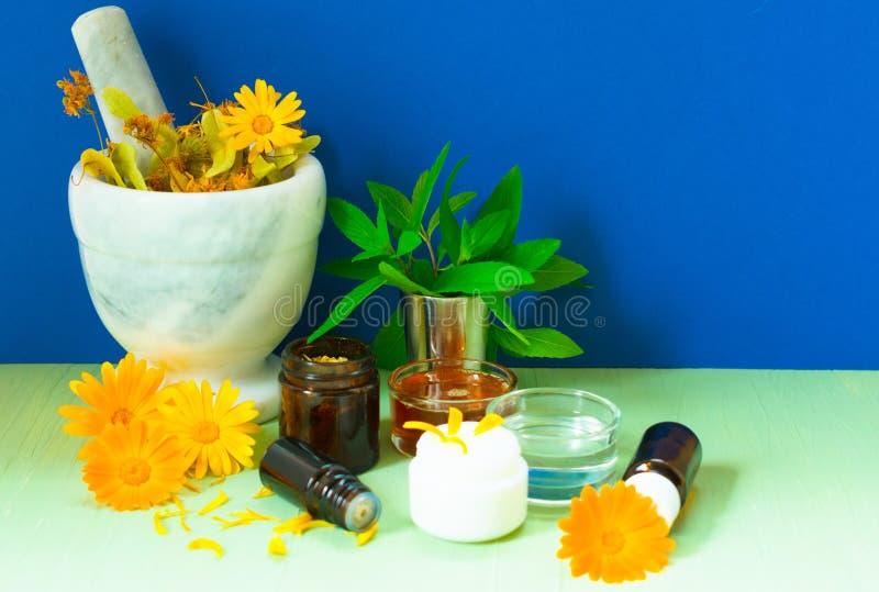 Productie van natuurlijke schoonheidsmiddelen Geneeskrachtige bloemen van calendula, kamille, munt en kruidentint Geneeskrachtige royalty-vrije stock fotografie
