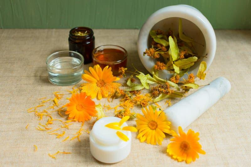 Productie van natuurlijke schoonheidsmiddelen Geneeskrachtige bloemen van calendula, kamille, munt en kruidentint Geneeskrachtige royalty-vrije stock afbeelding