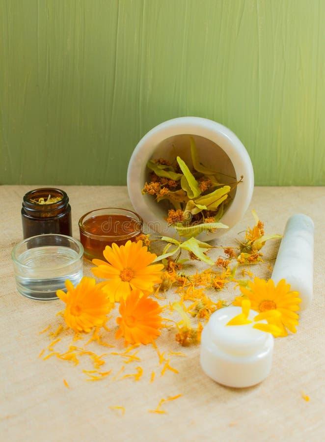 Productie van natuurlijke schoonheidsmiddelen Geneeskrachtige bloemen van calendula, kamille, munt en kruidentint Geneeskrachtige stock fotografie