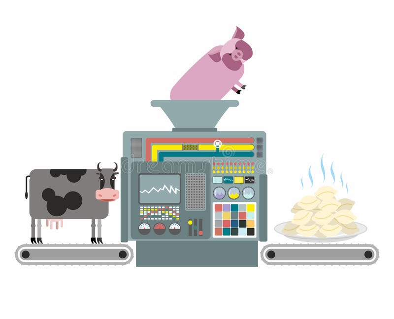 Productie van varkensvlees en rundvleesbollen Russische nationale apparatu stock illustratie