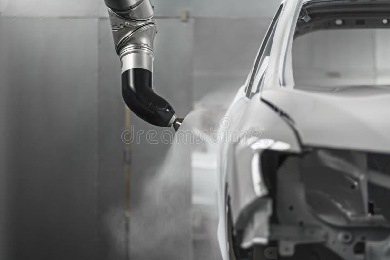 Productielijn van automobiele installatie, het schilderen winkel stock afbeelding