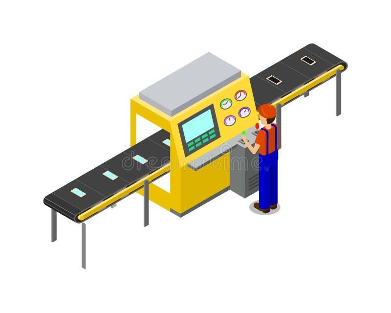 Productielijn van Fabrieks Vectorillustratie stock illustratie