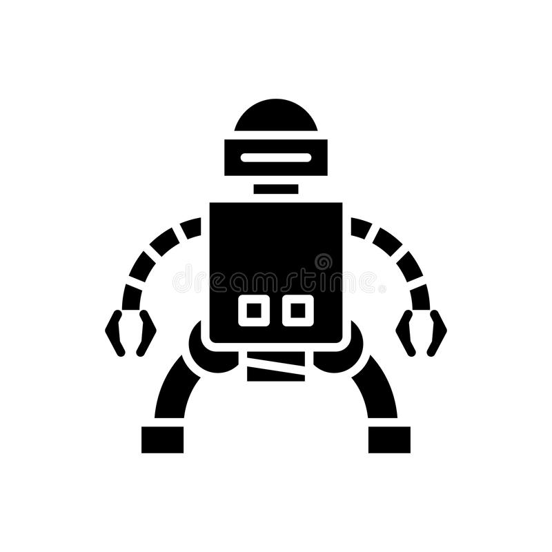 Production of androids black icon concept. Production of androids flat vector symbol, sign, illustration. vector illustration