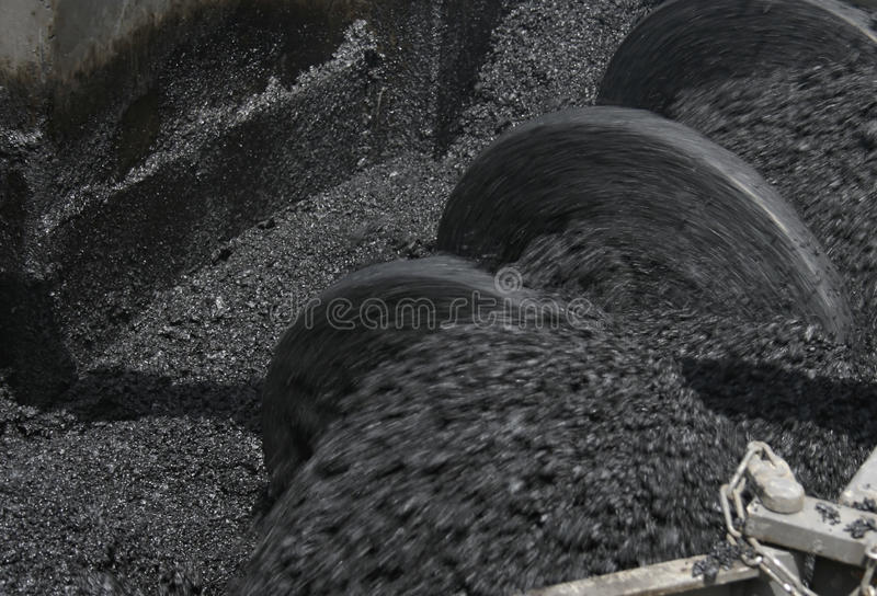 Production of asphalt royalty free stock photography
