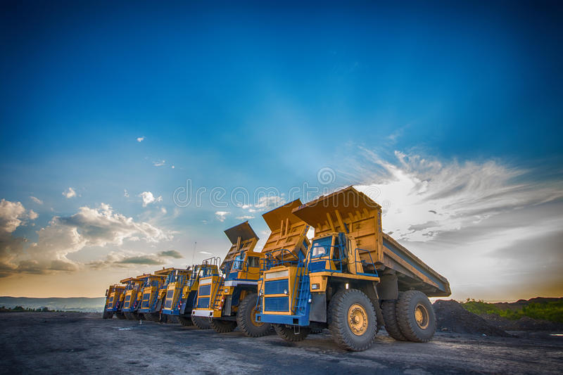 Production of coal in mine stock photography