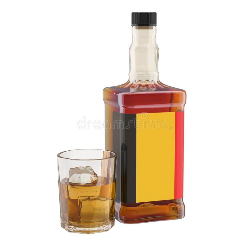 Production and consumption of alcohol drinks in Belgium, concept. 3D rendering vector illustration