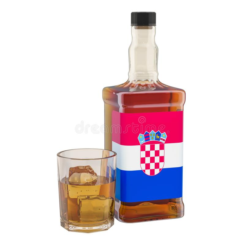 Production and consumption of alcohol drinks in Croatia, concept. 3D rendering. Isolated on white background vector illustration